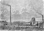 Salt mine, Germany, 19th century illustration