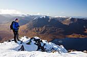 Mountaineer on Munro An Teallach, Scotland, UK