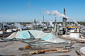 Salt mine, Detroit, Michigan, USA, aerial photograph