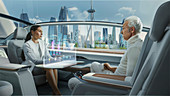 Man and woman in a driverless car