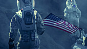 Astronauts exploring an alien planet carrying a US flag