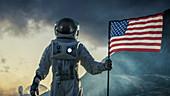 Astronaut planting US flag on alien planet