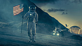 Astronaut walking with a US flag on an alien planet