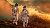 Two astronauts exploring an alien planet