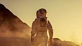 Astronaut walking on alien planet