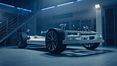 Electric car concept standing in a design laboratory
