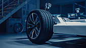 Automobile concept of an electric car chassis