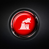 Red factory pollution stop button, composite image