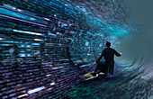 Man surfing binary code wave, conceptual illustration