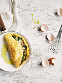Blue cheese and mushroom soufflé omelettes