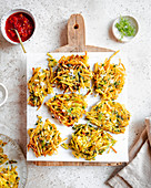 Moroccan Spiced Hashbrowns on a Wood Board, with Harissa and Dill