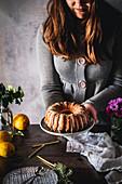 Freshly baked lemon bundt cake