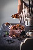 Serving chocolate babka knots