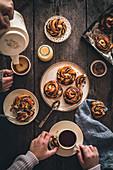 Chocolate babka knots breakfast scene