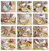 Apple and pear cheesecake, step by step