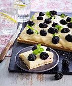 Non-baked cuts with lemon cream and blackberries