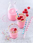 Milk shake with raspberries