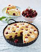 Cherry cake with meringues