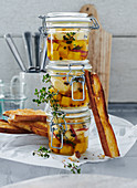 Pickled cheese as a gift from the kitchen