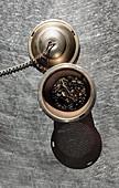Tea in a tea strainer
