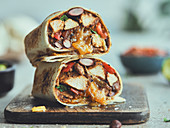 A chicken burrito