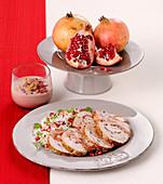 Turkey roulade roast and walnut and pomegranate cream
