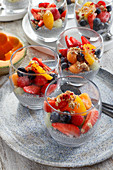 Dessert with chia and fresh fruit (strawberry, melon, blueberry, peach)