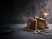 Chocolate banana crepe cake