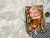 Roast Lamb Leg Boneless with Vegetable