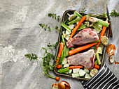 Raw Lamb Shanks with Vegetable