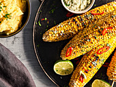 Grilled corn on the cob with chili herb butter