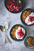 Granola with whipped cream and caramelized rhubarb