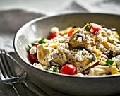 Italian-Greek tortellini salad with feta