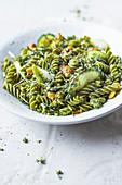 Green fusilli with herb mustard sauce