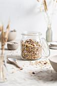 Granola mix in the storage jar