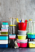 Lunch boxes, bento boxes, storage jars, tupperware, and glass bottles