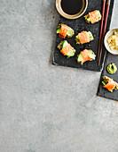Kelp and smoked salmon sushi-style rolls