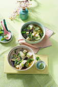 Japanese Miso soup with fish and wood ear mushrooms