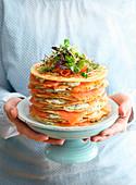 Pfannkuchen-Lachstorte