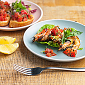 King prawn salad with lettuce and tomato salsa