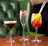 Coffee Martini, Champagne with strawberry, Aperol Spritz