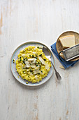 Risotto Milanese with fried diced zucchini