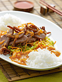 Duck breast cutlet with peanut sauce and basmati rice