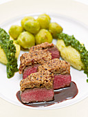 Venison Tenderloin with walnut polenta and Brussels sprouts