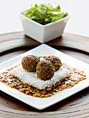 Plato Longaniza - Filipino sausage meatballs on coconut rice with nectarine chutney