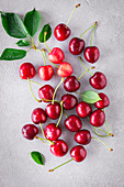 Sweet cherries on a light background