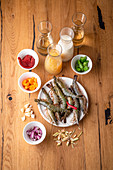 Ingredients for shrimp soup