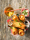 Spring rolls with herb mayonnaise