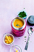 Pumpkin and ginger soup in a thermos 'To Go'