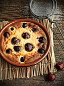 Cherry clafoutis out of the oven
